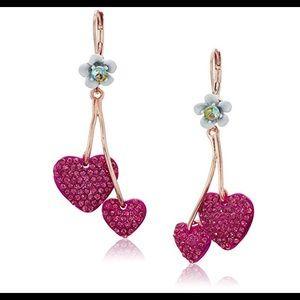 Womens Fuchsia Double Heart Drop Earrings